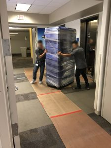 Moving servers through hallway